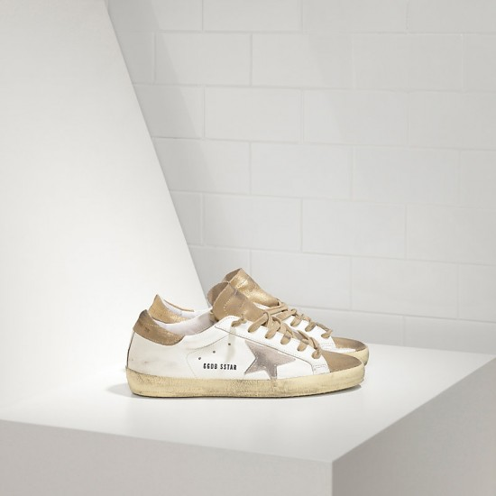 Men/Women Golden Goose superstar in gold white suede star sneaker