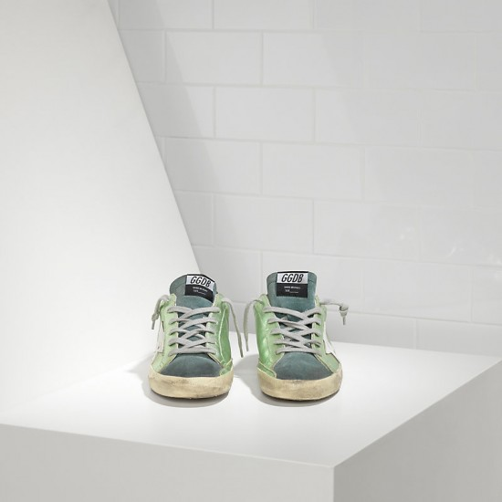 Men/Women Golden Goose superstar in green lame white sneaker