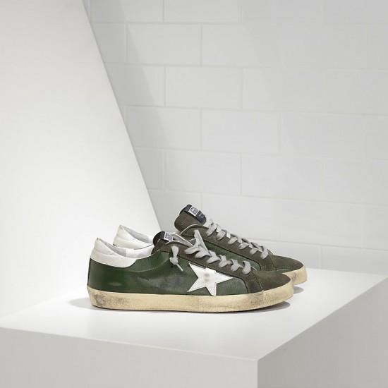 Men Golden Goose superstar in green leather forest sneaker