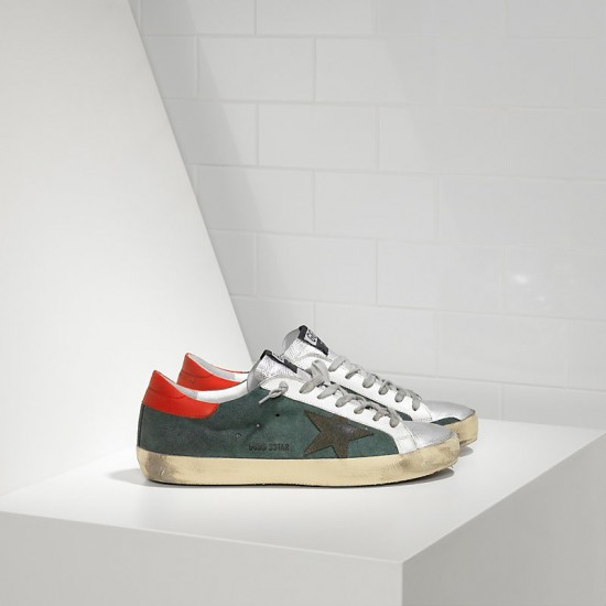 Men Golden Goose superstar in green suede red silver sneaker