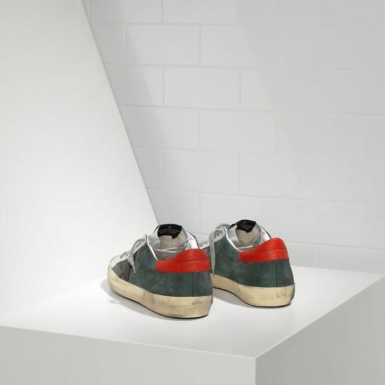 Men Golden Goose superstar in green suede red silver sneaker