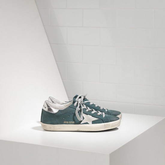 Men Golden Goose superstar in green suede silver sneaker