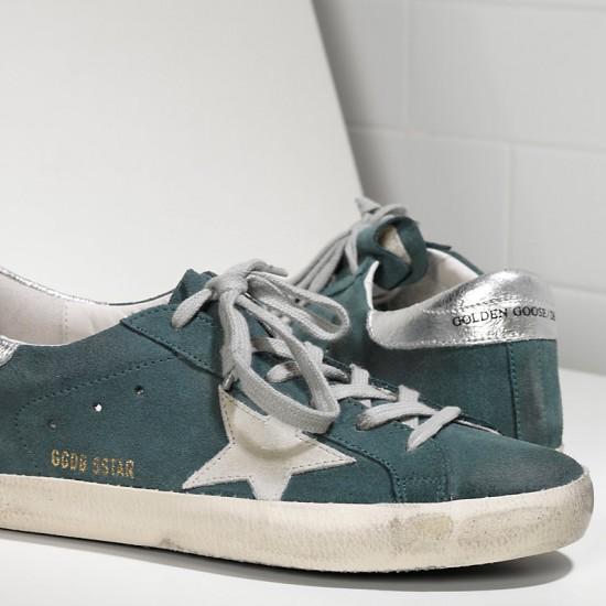 Men Golden Goose superstar in green suede silver sneaker