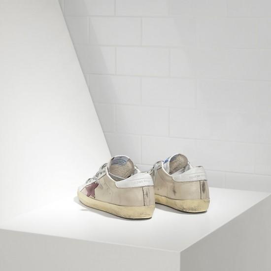 Men/Women Golden Goose superstar in milk white lilac star sneaker