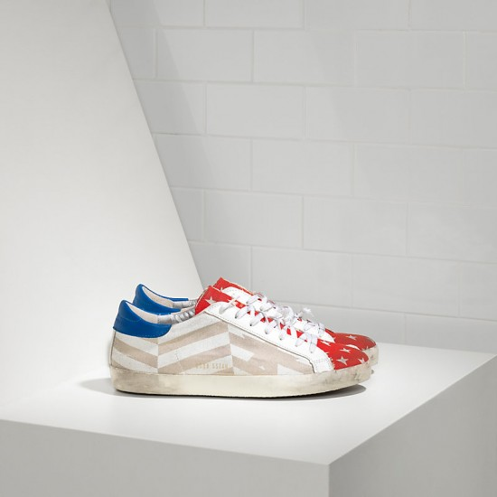 Men/Women Golden Goose superstar in natural canvas flag sneaker