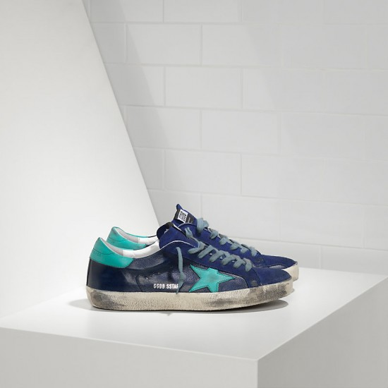 Men Golden Goose superstar in ny leather blue sude sneaker