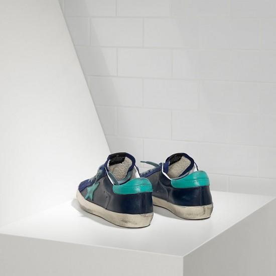 Men Golden Goose superstar in ny leather blue sude sneaker