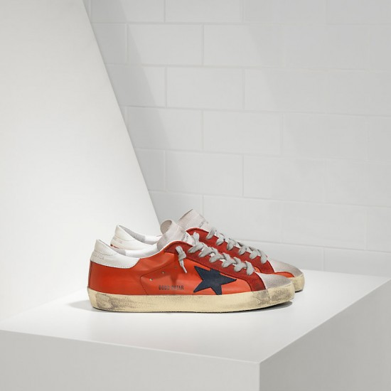 Men/Women Golden Goose superstar in red leather white sude sneaker