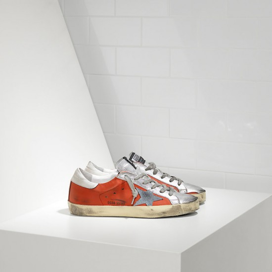 Men/Women Golden Goose superstar in red silver leather sneaker