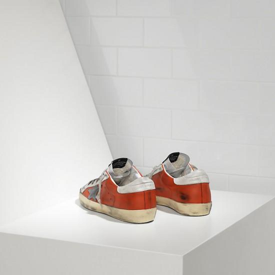 Men/Women Golden Goose superstar in red silver leather sneaker