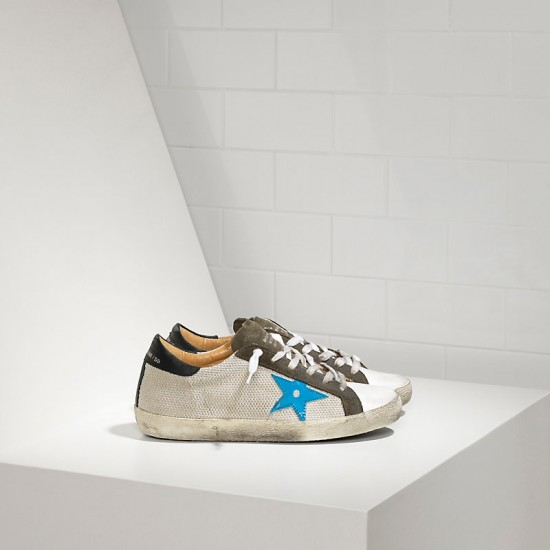 Men Golden Goose superstar in silver net bluette sneaker