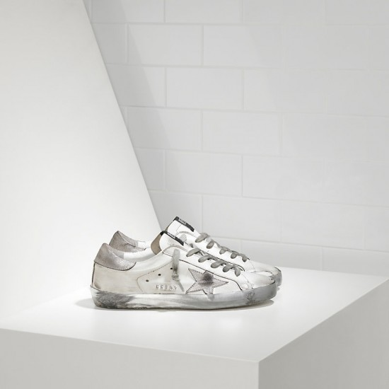 Men/Women Golden Goose superstar in sparkle white silver sneaker