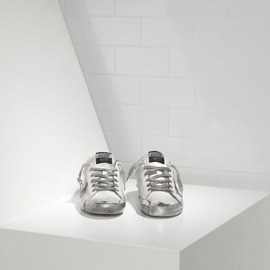 Men/Women Golden Goose superstar in sparkle white silver sneaker