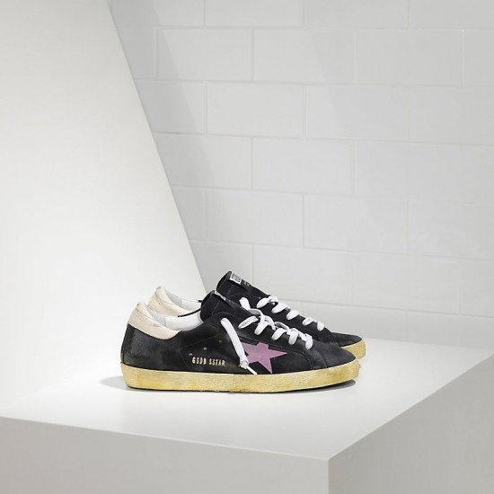 Men/Women Golden Goose superstar in stickers blue suede pink sneaker