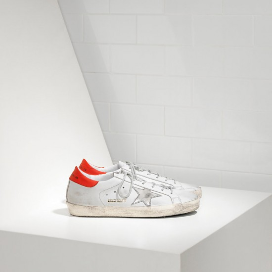 Men/Women Golden Goose superstar in white leather red sneaker