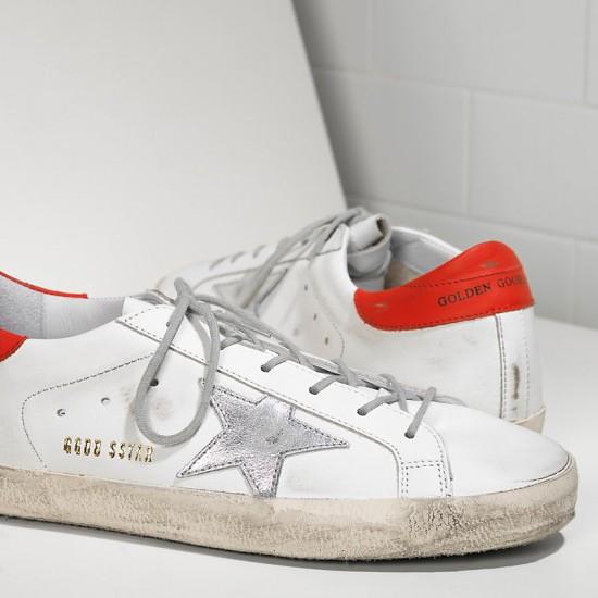 Men/Women Golden Goose superstar in white leather red sneaker