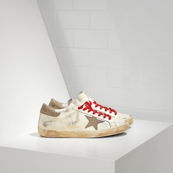 Men Golden Goose superstar in white red lace sneaker