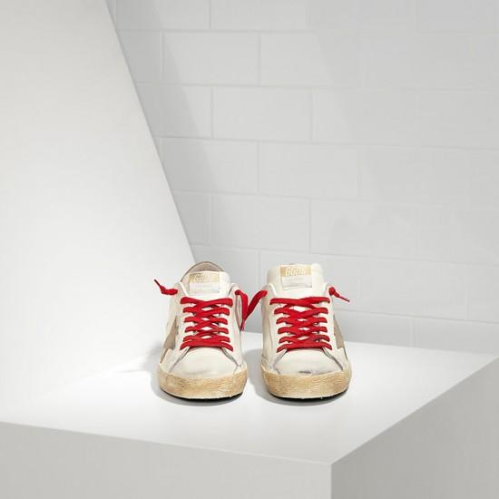 Men Golden Goose superstar in white red lace sneaker