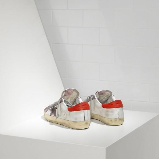 Men/Women Golden Goose superstar in white red violet star sneaker