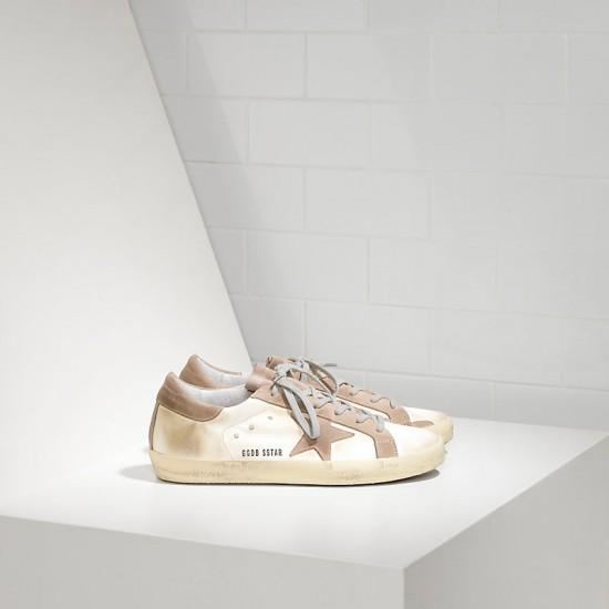 Men Golden Goose superstar in white satin sneaker