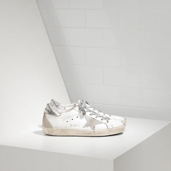 Men Golden Goose superstar in white silver metal sneaker