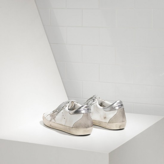 Men Golden Goose superstar in white silver metal sneaker