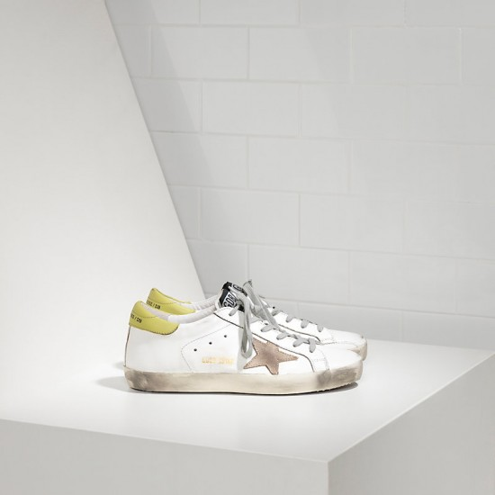 Men/Women Golden Goose superstar in white wasabi sneaker