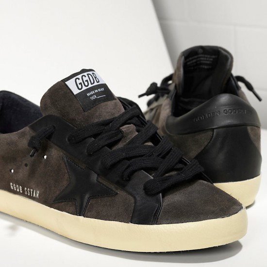 Men Golden Goose superstar leather in asphalt black star sneaker