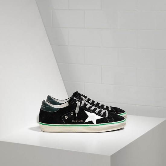 Men Golden Goose superstar leather in black suede petrol sneaker