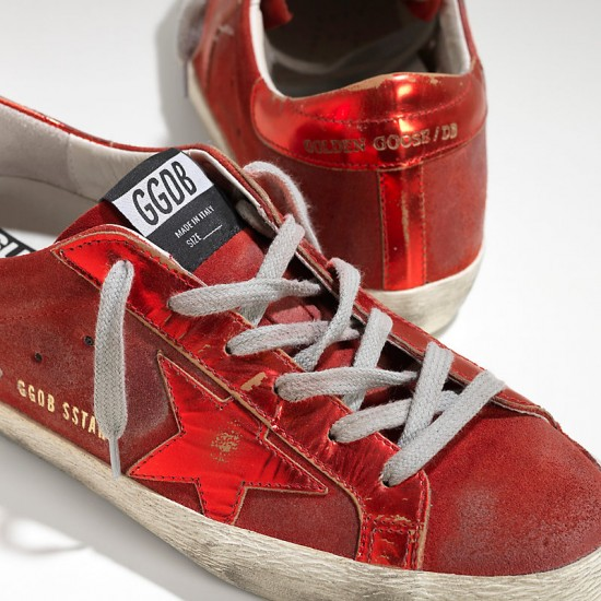 Men/Women Golden Goose superstar leather in laminata red mirror sneaker