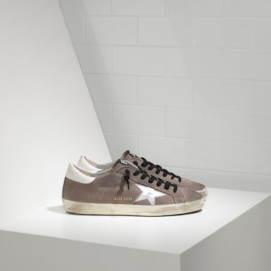Men/Women Golden Goose superstar in mid grey suede white sneaker