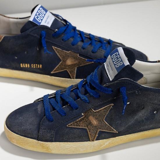 Men Golden Goose superstar leather in navy suede club sneaker