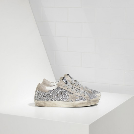 Men/Women Golden Goose superstar shiny silver moon sneaker