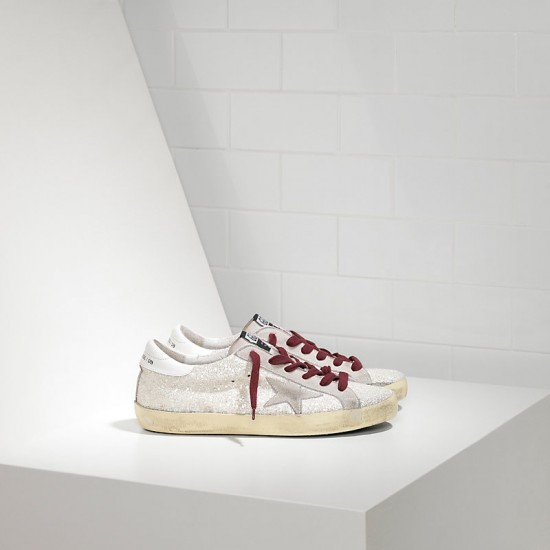 Men/Women Golden Goose superstar white glitter sneaker