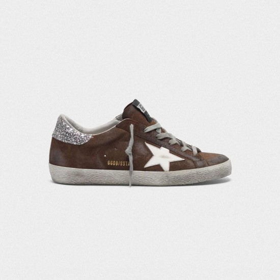 Men/Women Golden Goose suede superstar with glittery in brown sneaker