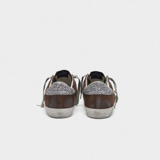 Men/Women Golden Goose suede superstar with glittery in brown sneaker