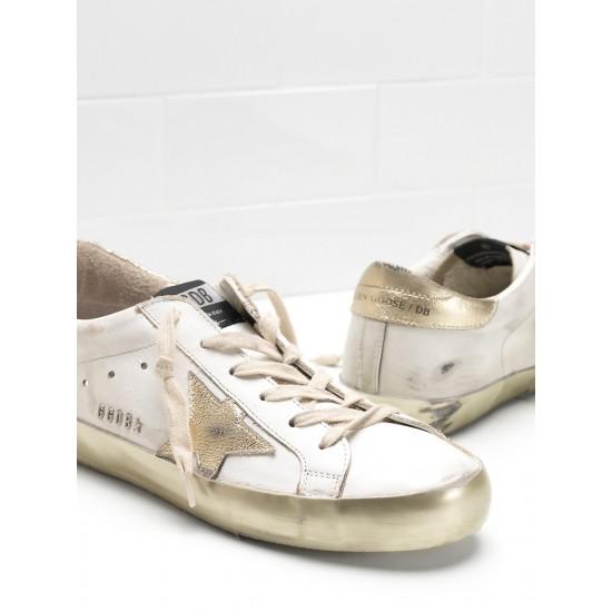 Men/Women Golden Goose superstar calf leather in golden sneaker