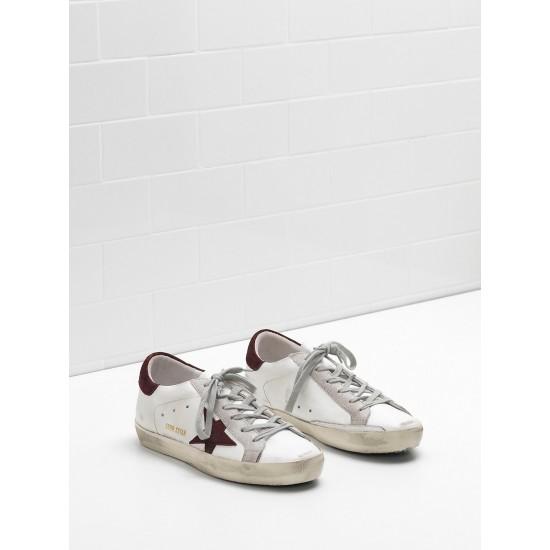 Men/Women Golden Goose superstar calf leather in wine star white sneaker