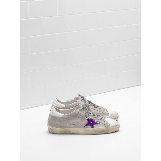 Men/Women Golden Goose superstar calf suede in worn effect leather sneaker