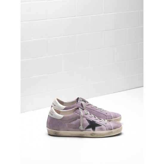 Men/Women Golden Goose superstar calf suede purple black logo sneaker