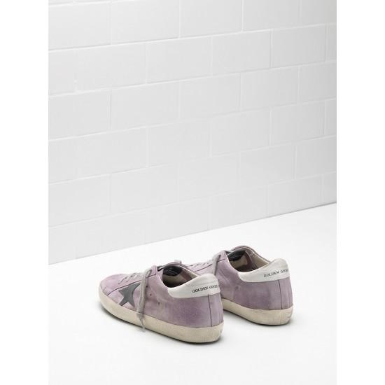Men/Women Golden Goose superstar calf suede purple black logo sneaker