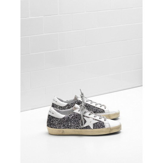 Men/Women Golden Goose superstar flag ltd fabric eyelets natural black sneaker