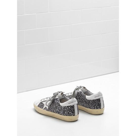 Men/Women Golden Goose superstar flag ltd fabric eyelets natural black sneaker
