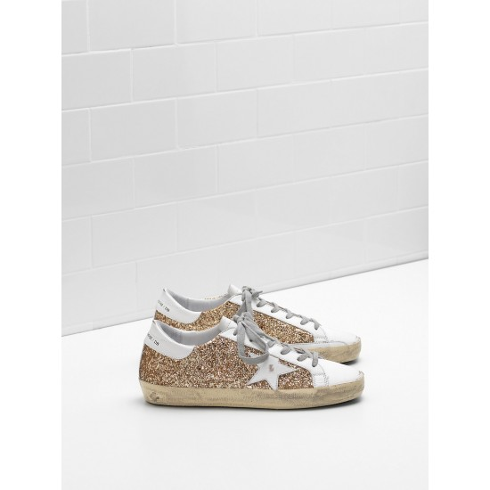 Men/Women Golden Goose superstar flag ltd fabric eyelets natural golden sneaker
