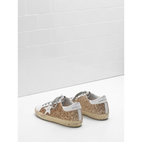 Men/Women Golden Goose superstar flag ltd fabric eyelets natural golden sneaker