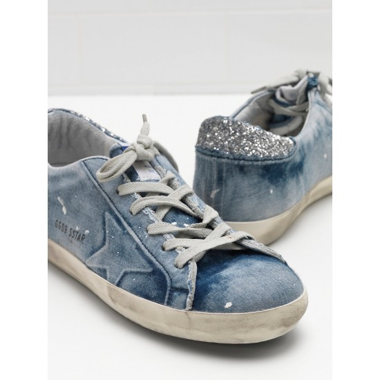 Men/Women Golden Goose superstar in denim blue star logo silver sneaker
