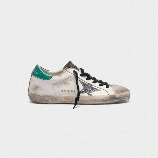 Men/Women Golden Goose superstar in leather with glittery star sneaker