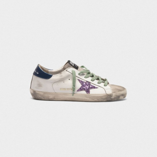 Men/Women Golden Goose superstar in leather with glittery star blue sneaker
