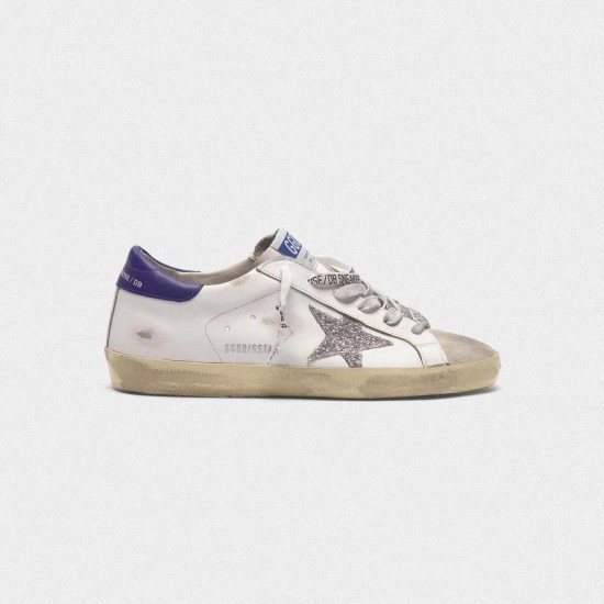 Men/Women Golden Goose superstar in leather with glittery star purple sneaker