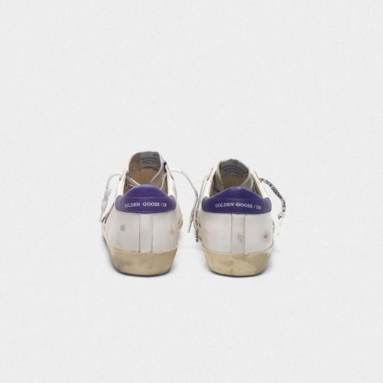 Men/Women Golden Goose superstar in leather with glittery star purple sneaker